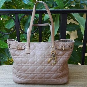 Christian Dior Panarea Tote Cannage Quilt Canvas